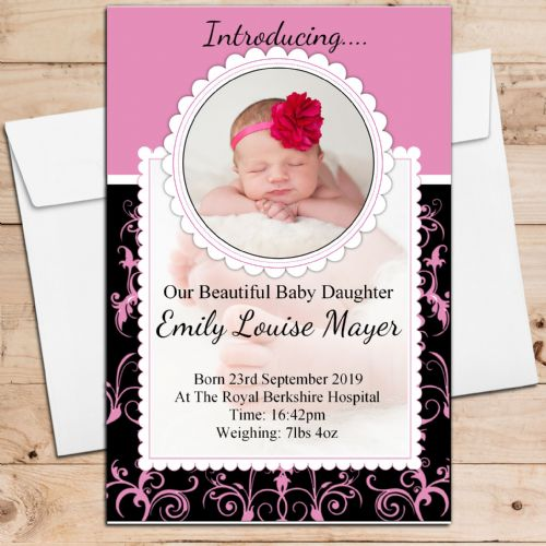 10 Personalised New Baby Girl Birth Announcement Thank You PHOTO cards N124